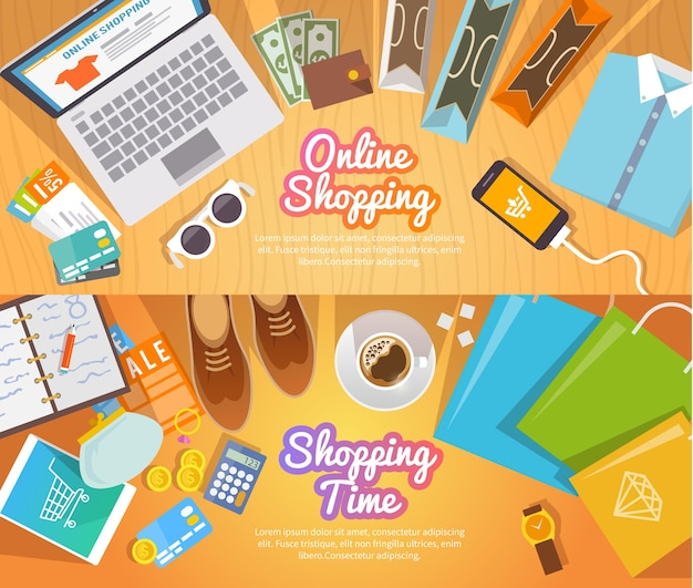 Kleurrijke winkelen platte banners voor uw bedrijf