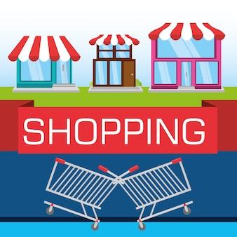 Kleurrijke winkels met elementen winkelen concept
