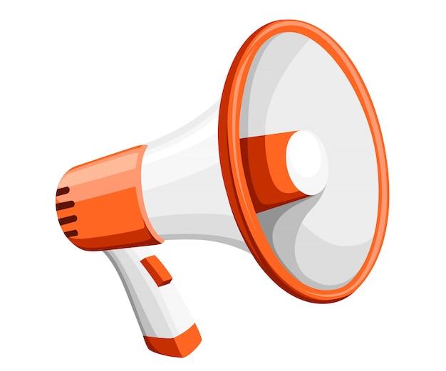 Kleurrijke witte megafoon. megafoon voor het versterken van de stem voor protestenbijeenkomsten of spreken in het openbaar. illustratie op witte achtergrond. website-pagina en mobiele app