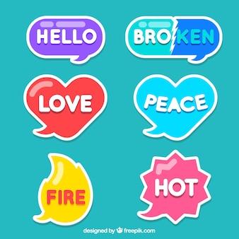 Kleurrijke woordstickers