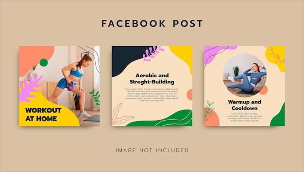 Kleurrijke workout thuis facebook post