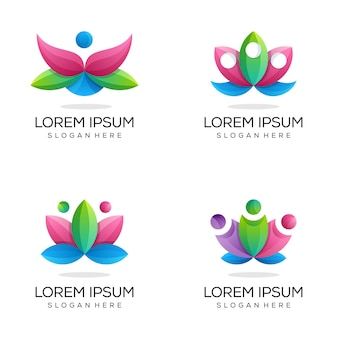 Kleurrijke yoga lotus logobundel