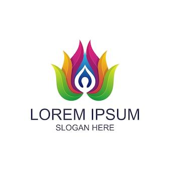 Kleurrijke yoga met lotus-logo