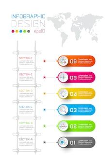 Kleurrijke zakelijke rechthoek etiketten vorm infographic
