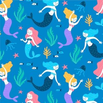 Kleurrijke zeemeermin tekens patroon
