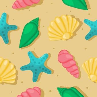 Kleurrijke zeeschelpen naadloze patroon. tropische shells onderwater op zand