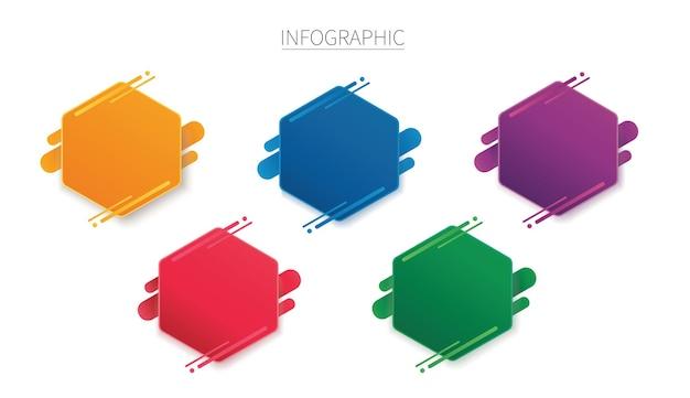 Kleurrijke zeshoek infographic sjabloon met opties