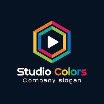 Kleurrijke zeshoek logo