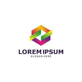 Kleurrijke zeshoekige abstracte logo sjabloon