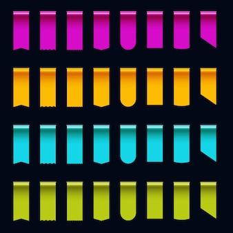 Kleurrijke zijde tape lint rand verkoop tag set met kopie ruimte. glanzende zijdeachtige realistische driedimensionale labelsjabloon