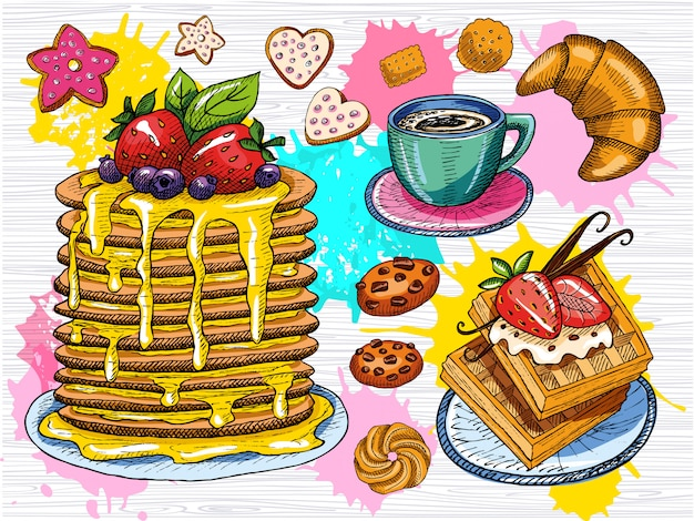 Kleurrijke zoete ontbijt set. panckakes, pannenkoeken, waffie, kopje koffie, koekjes, aardbei, chocolade, desserts, vanille-sticks, croissant. schetsstijl, kleur splash. hand getekend