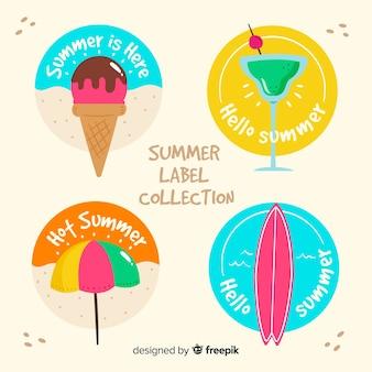 Kleurrijke zomer badge collectie