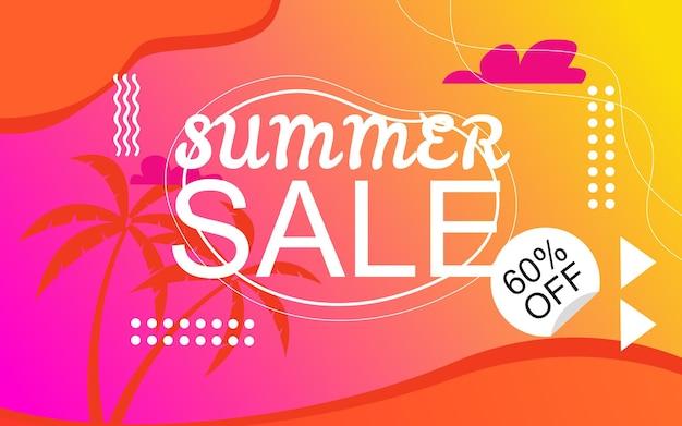 Kleurrijke zomer banner achtergrond premium vector