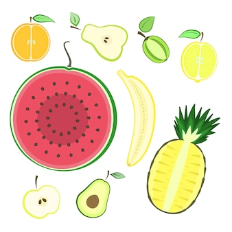 Kleurrijke zomer gesneden vers fruit set