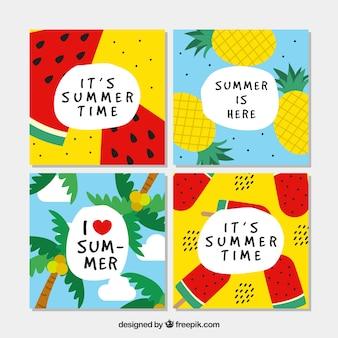 Kleurrijke zomer kaart collectie