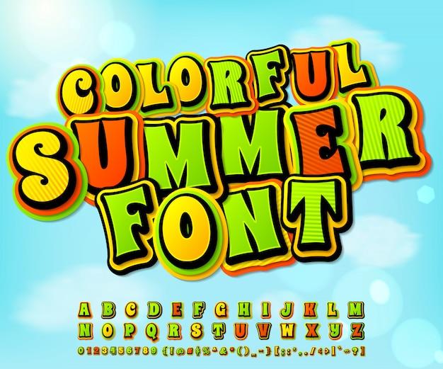Kleurrijke zomer komische lettertype. strips, pop-artstijl