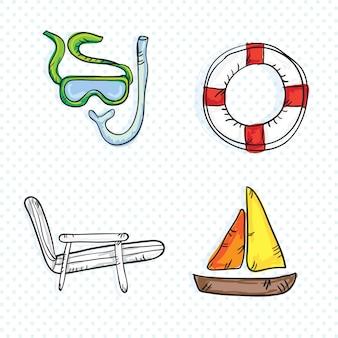 Kleurrijke zomer pictogrammen (verzameling set)