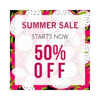 Kleurrijke zomer verkoop banner met pitaya.