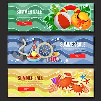 Kleurrijke zomer verkoop banner web mariene thema vectorillustratie instellen