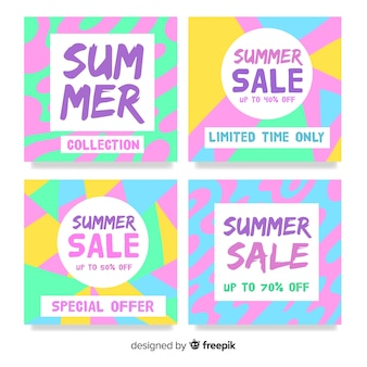 Kleurrijke zomer verkoop kaart collectie