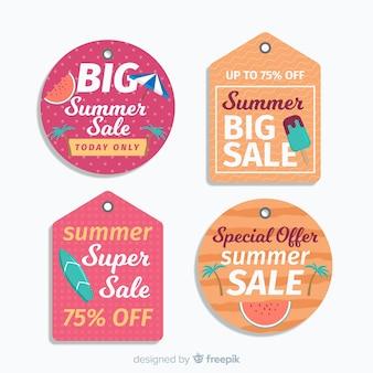 Kleurrijke zomer verkoop label collectie