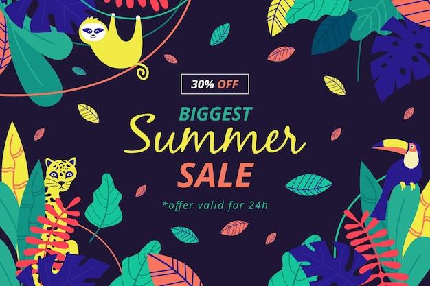 Kleurrijke zomer verkoop met aap en bladeren