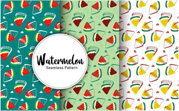 Kleurrijke zomer watermeloen fruit naadloze patroon sjabloon ontwerp set cadeau