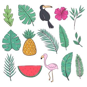 Kleurrijke zomercollectie met flamingo, watermeloen, bloemen en ananas in doodle stijl