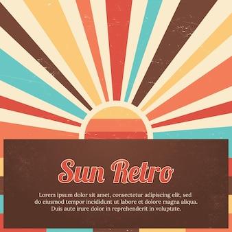 Kleurrijke zon retro vierkante zomer achtergrond