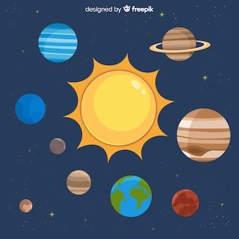 Kleurrijke zonnesysteemsamenstelling met vlak ontwerp