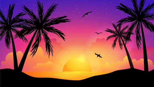 Kleurrijke zonsondergang op de zee met palmbomen en meeuwen.
