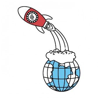 Kleursectorsilhouet van aardebol en ruimteraketlancering