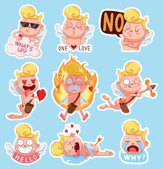 Kleurset van cupido voor valentijnsdag. grappige stickers met verschillende emoties.