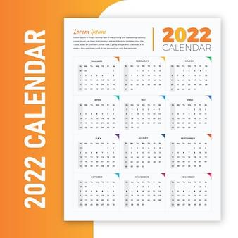 Kleurverloop geel en oranje 2022 printklare wandkalender