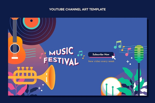 Kleurverloop kleurrijk muziekfestival youtube-kanaal