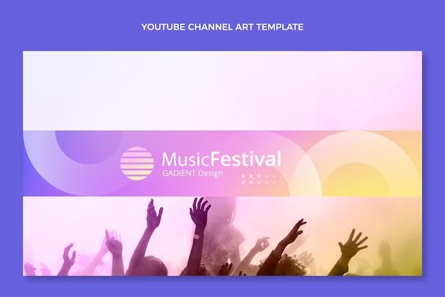 Kleurverloop kleurrijk muziekfestival youtube-kanaalkunst Gratis Vector