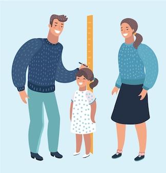 Kleuterjuf of vader die de lengte van het jongenskind meet met geschilderde schaalverdelingen op de muurpijl