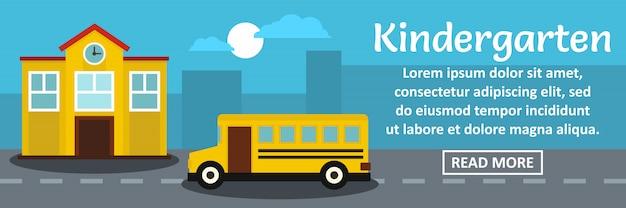 Kleuterschool banner sjabloon horizontaal concept