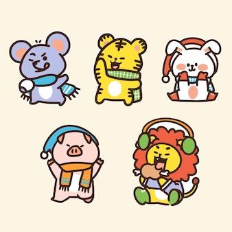 Kleuterschool dierenvrienden karakter doodle tweede set