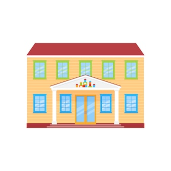 Kleuterschool gevel gebouw, voorschoolse gebouw vooraanzicht,