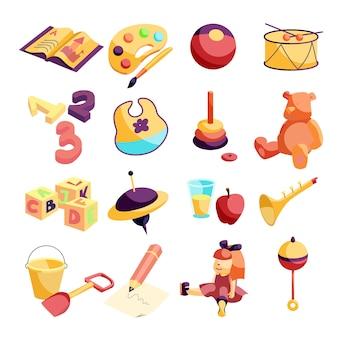 Kleuterschool items pictogrammen instellen. beeldverhaalillustratie van 16 pictogrammen van kleuterschoolpunten voor web