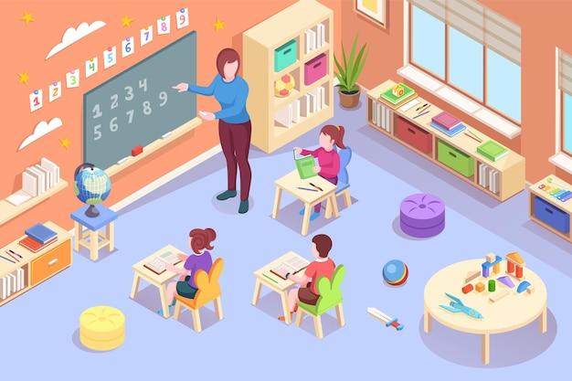 Kleuterschool kinderen en leraar leeractiviteit isometrisch ontwerp kleuterschool opvoeder
