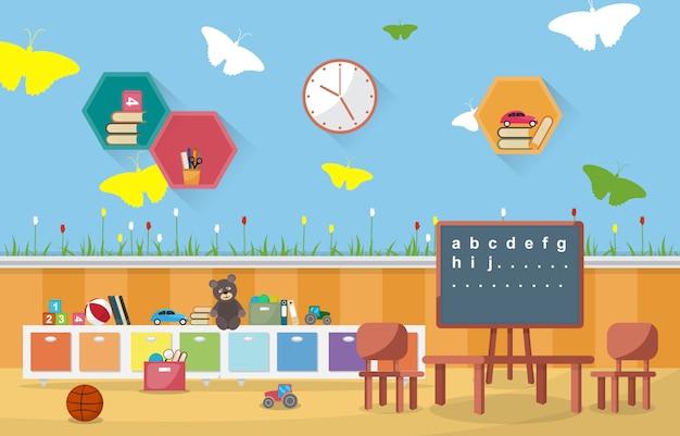 Kleuterschool klas interieur kinderen kinderen school speelgoed meubels