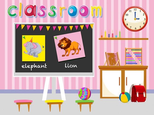 Kleuterschool klas met bord en stoelen