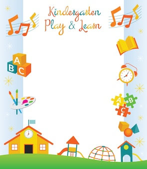 Kleuterschool, kleuterschool, objecten grens en frame
