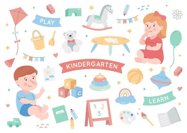Kleuterschool met babyjongen en meisje