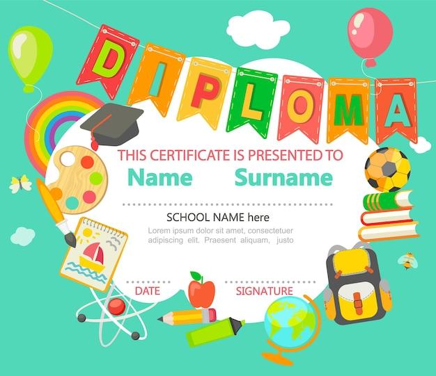 Kleuterschool preschool basisschool kids diploma certificaat achtergrond ontwerpsjabloon. vector.