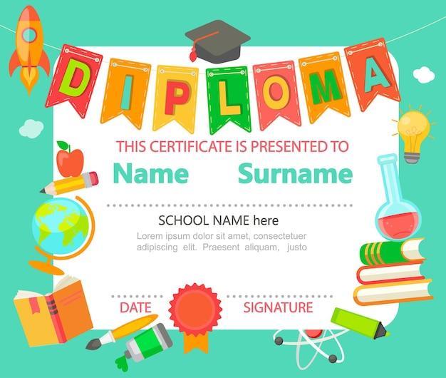Kleuterschool preschool basisschool kids diploma certificaat achtergrond ontwerpsjabloon - vectorillustratie.