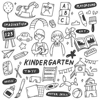 Kleuterschool speelgoed doodle illustratie