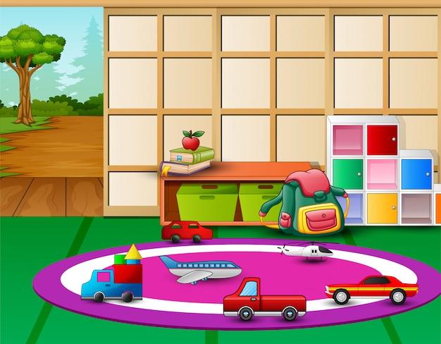 Kleuterschool speelkamer interieur met speelgoed en open deur